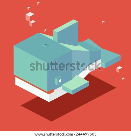 swimming whale. 3d pixelate isometric vector - stock vector