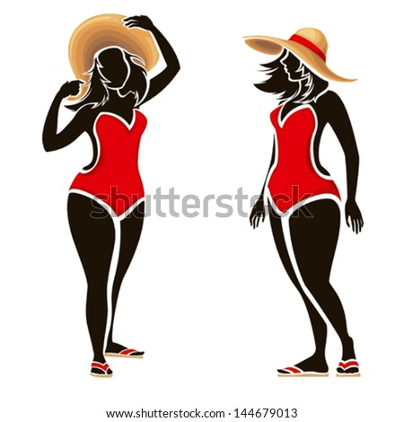 Swimsuit woman ,silhouettes of fat fashion girl - stock vector