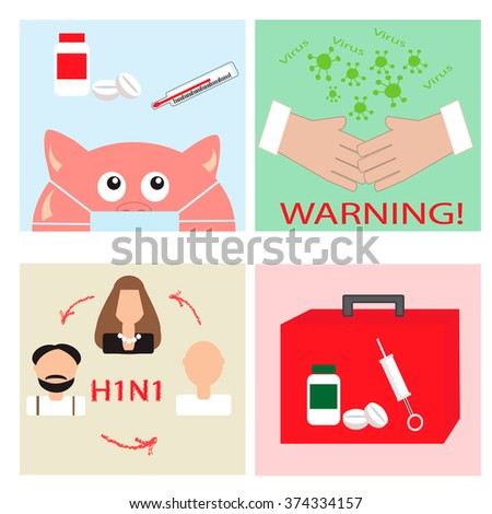 Swine Flu Set  - stock vector