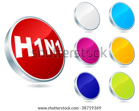 Swine flu virus buttons - stock vector