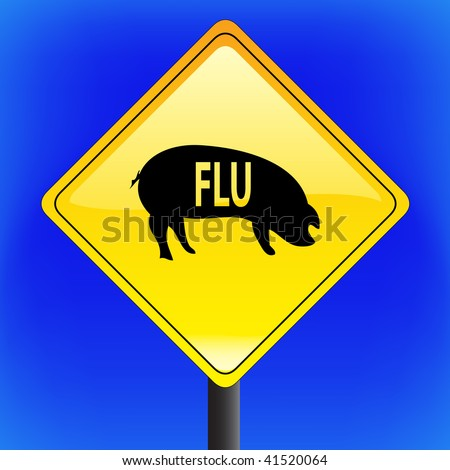 Swine flu with ping icon, ah1n1, h1n1, warning sign with blue sky in background - vector file - part 1 - stock vector