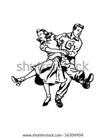 Swing Dancers At The Hop - Retro Clip Art - stock vector