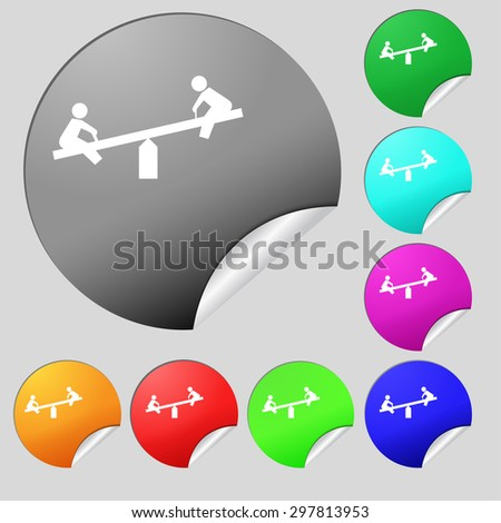 swing icon sign. Set of eight multi colored round buttons, stickers. Vector illustration - stock vector