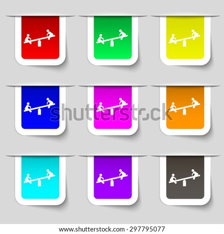 swing icon sign. Set of multicolored modern labels for your design. Vector illustration - stock vector