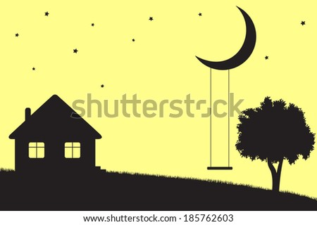 Swings hanging from moon, house and tree silhouettes - stock vector