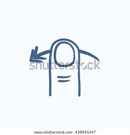 Swipe left touch screen gesture vector sketch icon isolated on background. Hand drawn Swipe left touch screen gesture icon. Swipe left touch screen gesture sketch icon for infographic, website or app. - stock vector