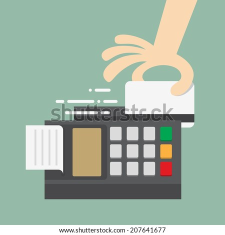 Swiping Credit Card - stock vector