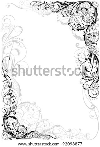 Swirl black and gray ornament.Detailed floral corner design in black and gray. - stock vector