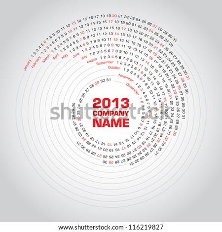 Swirl calendar 2013 - stock vector