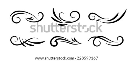 Swirl decoration elements isolated on white background. Vector collection - stock vector