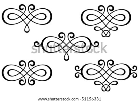 Swirl elements and monograms for design and decorate. Jpeg version also available in gallery - stock vector