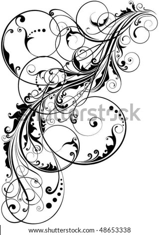Swirl floral element - stock vector