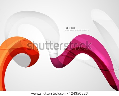 Swirl shape colorful line. Futuristic abstract background - color curve stripes and lines in motion concept and with light and shadow effects. Presentation banner and business card message design - stock vector