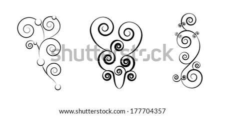 Swirl vintage frame set - stock vector