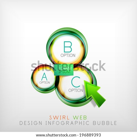 Swirl web design infographic bubble - flat concept. Can be used as web design templates, business illustrations, promotional banners, price tables - stock vector