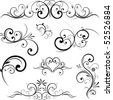 Swirling flourishes decorative floral elements - stock vector