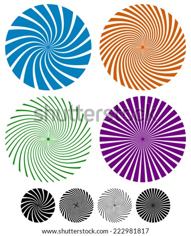 Swirling lines, rays in circles - stock vector