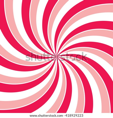Swirling radial vortex background. Pink, red and white stripes swirling around the center of the square. Vector illustration in EPS8 format. - stock vector