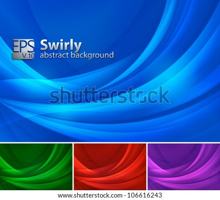 Swirly Abstract Background. A set of swirly abstract background. Each background separately on different layers.  Available in 3 different colors - stock vector