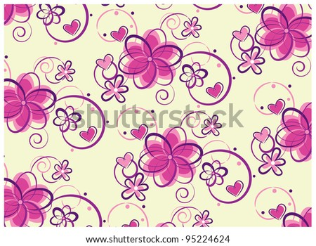 Swirly floral background - stock vector