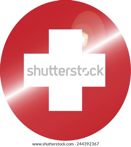 Swiss flag white cross on red, vector - stock vector