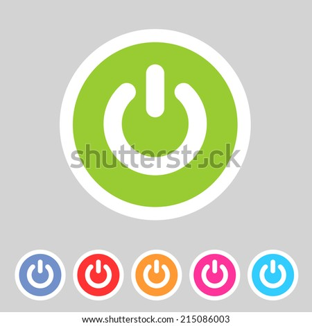 Switch power flat icon badge - stock vector
