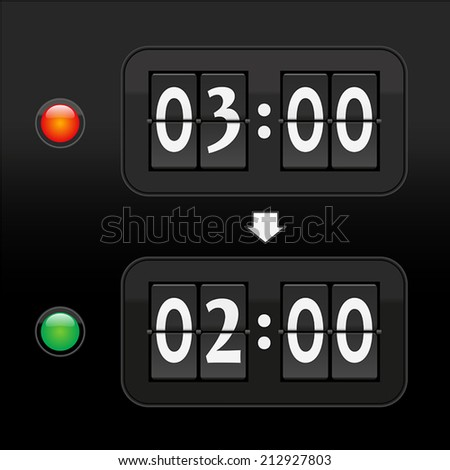 Switch to standard time in autumn from three a.m. to two a.m. - depicted with to digital time displays and a red and green warning light. Vector illustration on black gradient background.  - stock vector