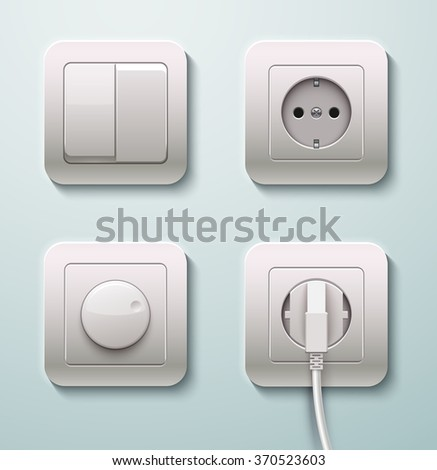 Switches and sockets set. Realistic vector illustration - stock vector