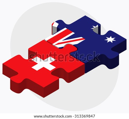 Switzerland and Australia Flags in puzzle  isolated on white background - stock vector