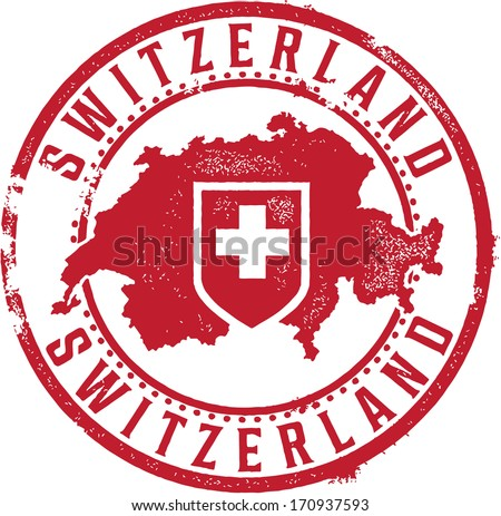 Switzerland European Country Rubber Stamp - stock vector