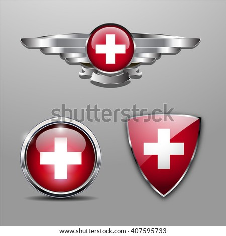 Switzerland Flag hat badge, shield and glossy button - stock vector