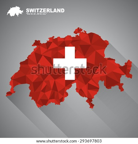Switzerland flag overlay on Switzerland map with polygonal and long tail shadow style (EPS10 art vector) - stock vector