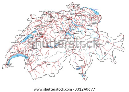 Switzerland road and highway map. Vector illustration. - stock vector