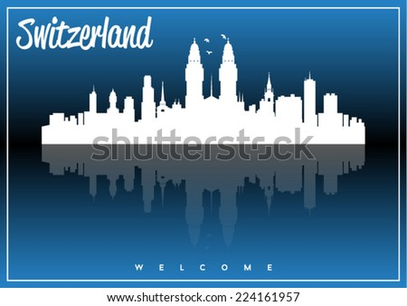 Switzerland skyline silhouette vector design on parliament blue and black background. - stock vector