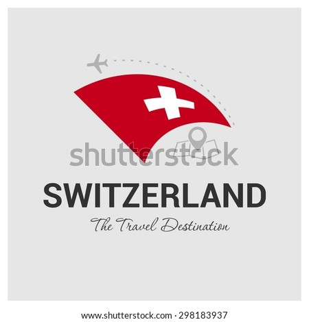 Switzerland The Travel Destination logo - Vector travel company logo design - Country Flag Travel and Tourism concept t shirt graphics - vector illustration - stock vector