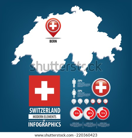 Switzerland vector set. flags and icons isolated on white background. - stock vector