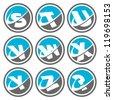 Swoosh Alphabet Icons Set 3 - stock vector