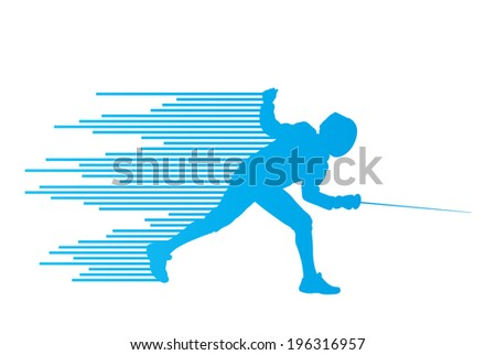 Sword fighters active young man fencing sport silhouettes vector abstract background illustration - stock vector