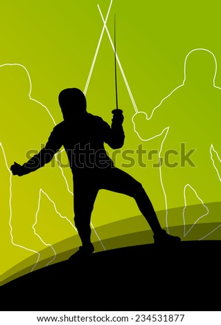 Sword fighters active young men and women fencing sport silhouettes vector abstract background illustration - stock vector