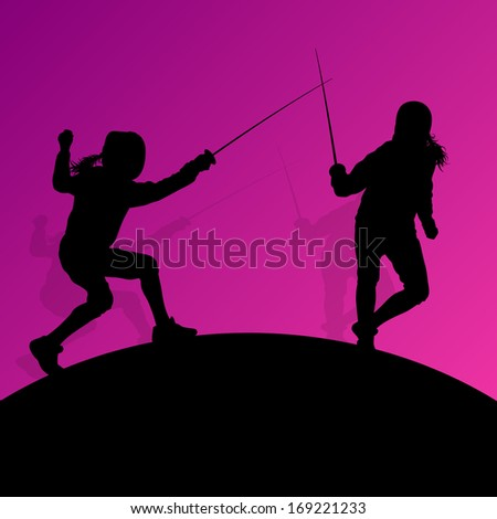 Sword fighters active young women fencing sport silhouettes vector abstract background illustration - stock vector