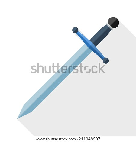 Sword icon with long shadow on white background - stock vector