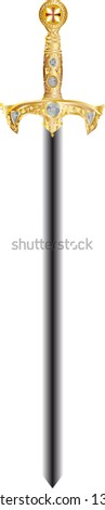 sword of a Knight with partiacs cross - stock vector