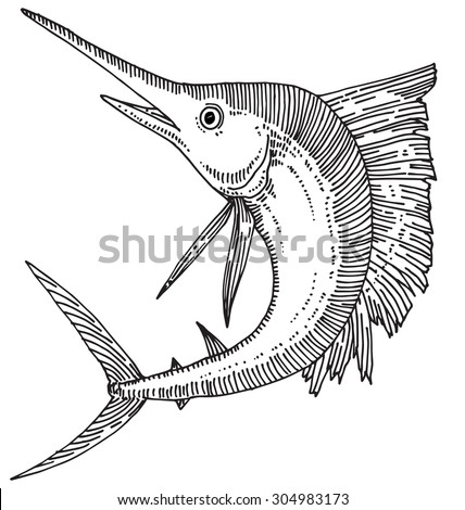Xiphias Coloring Page Swordfish Outli...