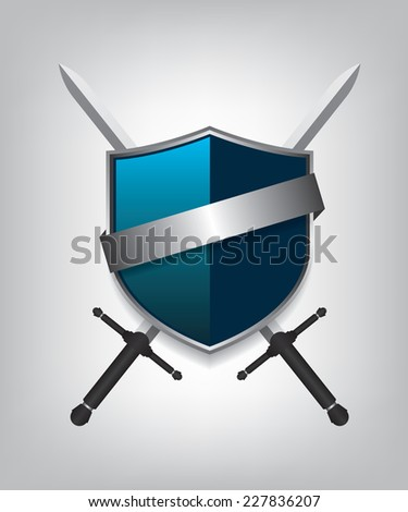 Swords and shield - stock vector