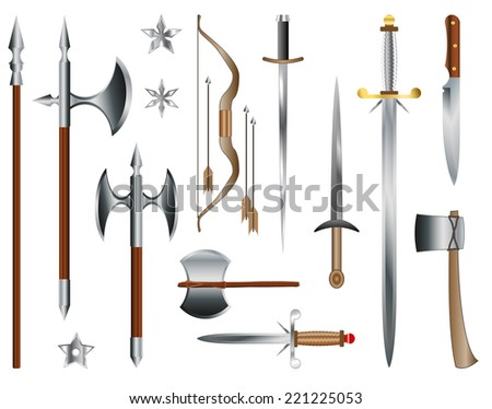 Swords, axes and bow. Medieval weapons vectors  - stock vector