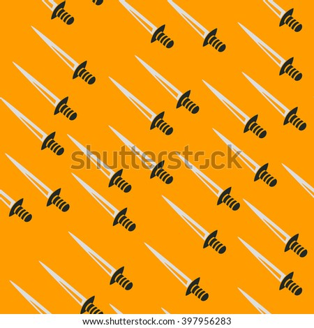Swords back pattern seamless yellow - stock vector