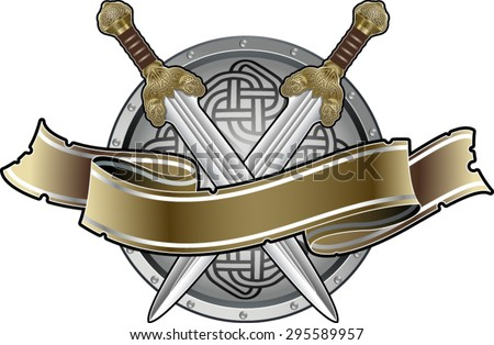 swords, shield and banner - stock vector