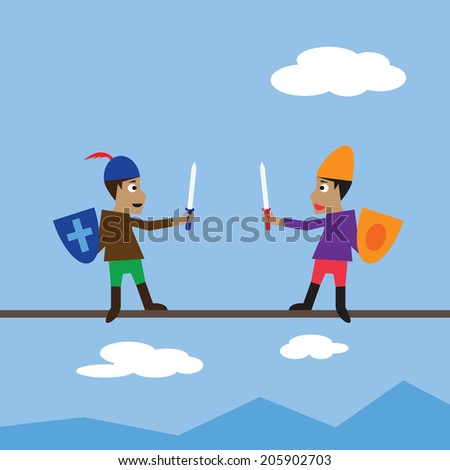 Swordsman fighting on thin line over blue sky and white clouds - stock vector