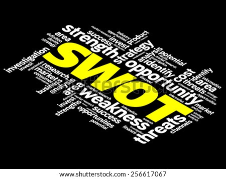 SWOT analysis business concept in word tag cloud - stock vector