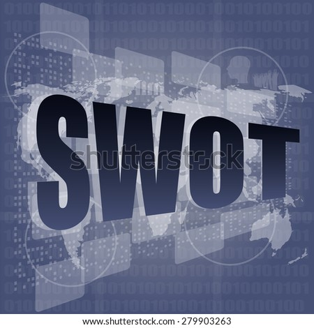 swot word on touch screen, modern virtual technology background vector - stock vector